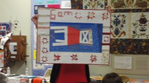 """This """"Improvised Chair"""" quilt is shown sideways to display the hour that belongs just to Jessica"""