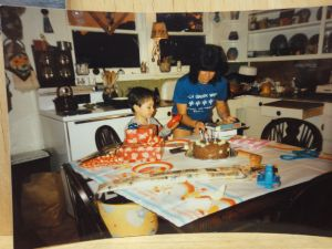 Matt about 5, I think; I'm in my 30's in our kitchen/dining room at the ranch